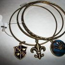 Fleur de Lis & Crown Charm Bangles, Set of 3 Bracelets, brass colored