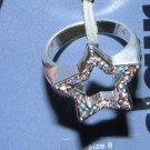 Size 8 Silver Ring: Star w/ Crystals (open/cut-out center)