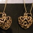 Gold tone Open Heart Dangle Earrings, sensitive ears