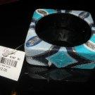 Square Bangle: thread-stitched Blue + Silver Design