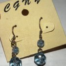 Light Blue Crystal Dangle Earrings, 1 inch