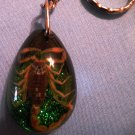 Real Scorpion KeyChain, Green and Black