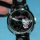 Hello Kitty watch: Black w/ Hearts Stars Bow Band, Women's