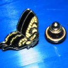 Small Butterfly Pin, Yellow & Black, push clasp