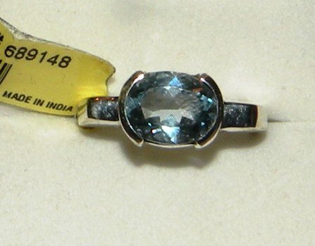 2.5ct Blue Topaz Solitaire Ring, Sterling Silver, Size 8