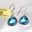 16.57 cts Trillion cut Indicolite Crystal Quartz  Earrings, Sterling Silver