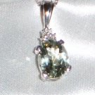 3.35 cts Green Amethyst & Diamond Pendant Necklace, Platinum over Sterling Silver