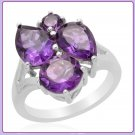 5.17 cts Genuine AMETHYST Ring, Sz 9, PLATINUM Plated (Pear & Round cut)