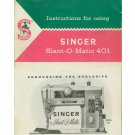 Singer Model 401 401A Slant-O-Matic MANUAL On CD