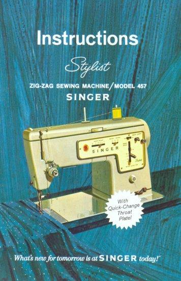 Singer Model 457 Stylist Sewing Machine MANUAL in pdf format