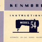 Sears Kenmore Model 54 / 158.540 ZigZag Sewing MANUAL in pdf format