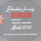 Singer Model 15-91 15.91 Electric Sewing Machine MANUAL ON CD