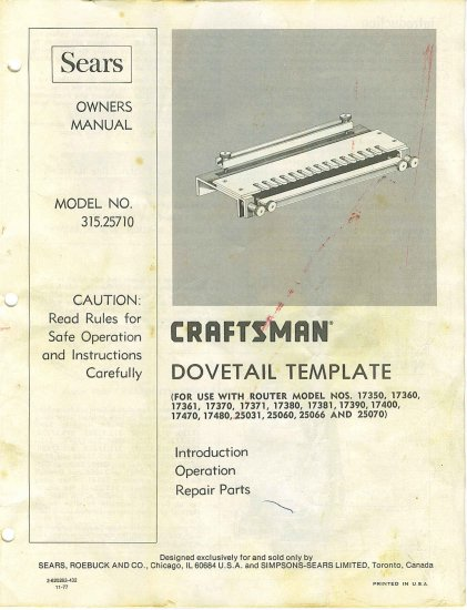 Craftsman Router DoveTail Template # 315.25710 MANUAL in pdf format