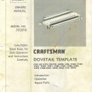 Craftsman Router DoveTail Template # 315.25710 MANUAL ON CD