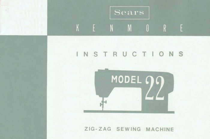 Sears Kenmore Model 22 / 158.220 ZigZag Sewing MANUAL ON CD