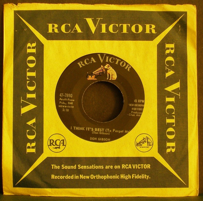 DON GIBSON~I Think it's Best / Sea of Heartbreak~ RCA Victor 47-7959 1962, 45