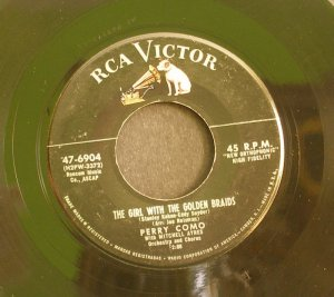 PERRY COMO~The Girl with the Golden Braids / My Little Baby~ RCA Victor 47-6904 1957, 45