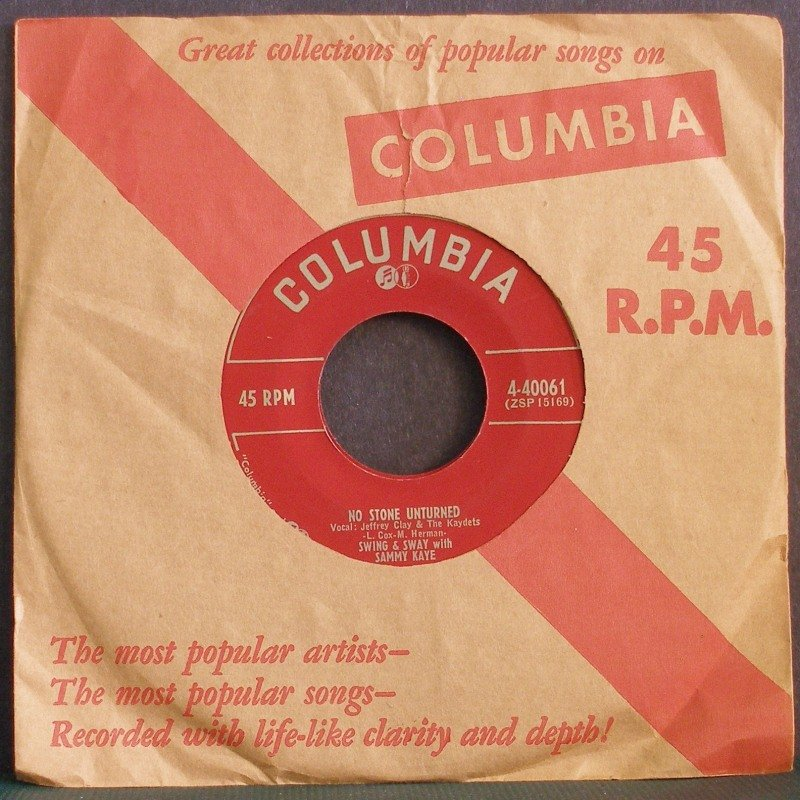 SAMMY KAYE~No Stone Unturned / In the Mission of St. Augustine~ Columbia 4-40061 1953, 45