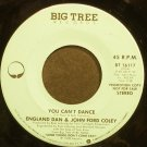 ENGLAND DAN & JOHN FORD COLEY~You Can't Dance~Big Tree 16117 (Soft Rock) Promo VG+ 45