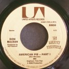 DON MCLEAN~American Pie~United Artists 50856 (Soft Rock)  45