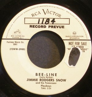 JIMMIE RODGERS SNOW~Bee-Line~RCA Victor 6303 Promo Rare 45