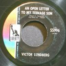 VICTOR LUNDBERG~An Open Letter to My Teenage Son~Liberty 55996 VG+ 45