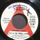 SLY & THE FAMILY STONE~Runnin' Away~EPIC 10829 (Funk) Promo 45