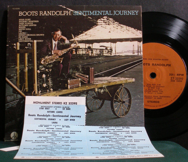 """BOOTS RANDOLPH~Sentimental Journey~Monument 32292 VG+ 7"""" 33 RPM Mini LP, EP"""
