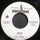 SUE AUSTIN~Richie~Monument 45-1096 Promo VG+ 45