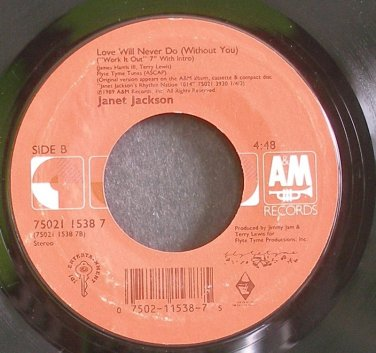 JANET JACKSON~Love Will Never Do (Without You)~A&M 1538 7 (Synth-Pop)  45