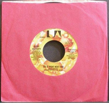 GERRY RAFFERTY~Get it Right Next Time~United Artists UA-X1316-Y (Folk-Rock) VG+ 45