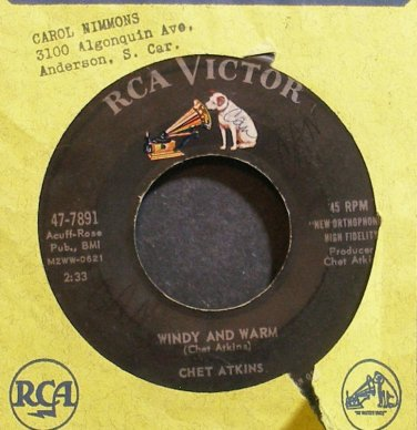 CHET ATKINS~Windy and Warm~RCA Victor 7891 VG+ 45