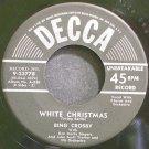 BING CROSBY~White Christmas~Decca 23778 (Christmas) 1st VG+ 45