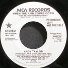 ANDY TAYLOR~When the Rain Comes Down~MCA 52946 (New Wave) Promo M- 45