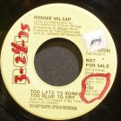 RONNIE MILSAP~Too Late to Worry, Too Blue to Cry~RCA 10228 Promo VG+ 45
