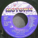 LIONEL RICHIE~Love Will Conquer All~Motown 1866 MF (Soul) VG+ 45