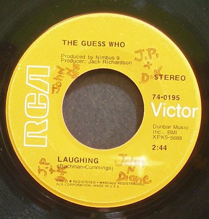 GUESS WHO~Laughing~RCA Victor 0195 (Classic Rock) VG+ 45