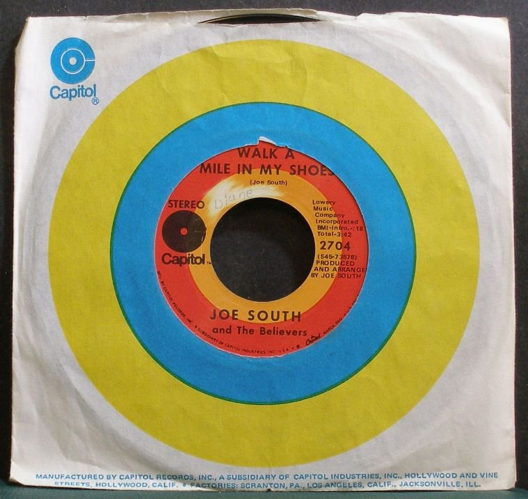 JOE SOUTH~Walk a Mile in My Shoes~Capitol 2704 (Classic Rock) VG+ 45
