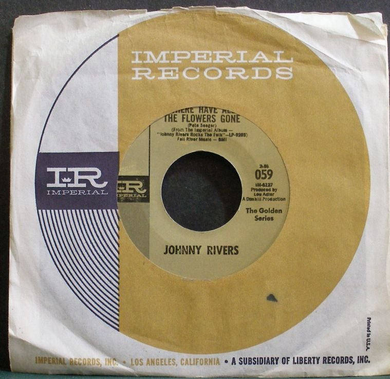 JOHNNY RIVERS~Where Have All the Flowers Gone~IMPERIAL 059 (Folk-Rock) VG++ 45