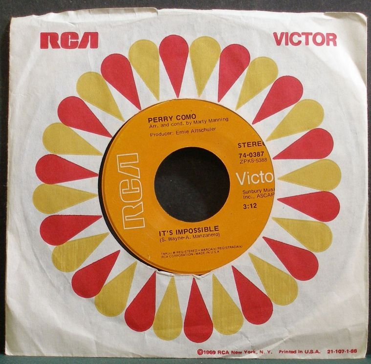 PERRY COMO~It's Impossible~RCA Victor 0387 VG++ 45