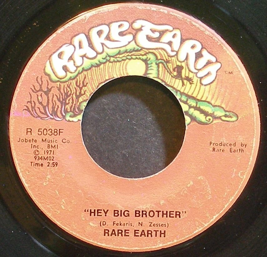 RARE EARTH~Hey Big Brother~Rare Earth 5038F (Psychedelic Rock) VG+ 45