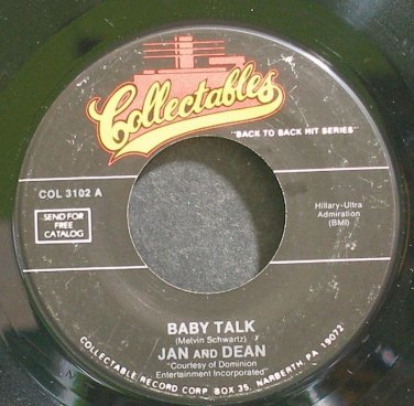 JAN & DEAN~Baby Talk~Collectables 3102 (Surf Rock)  45