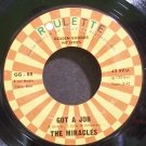 MIRACLES~Got a Job~Roulette 88 (Soul) Rare VG+ 45