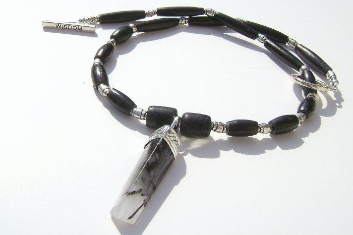 17 Inch Tourmaline Quartz & Black Buffalo Hairpipe Necklace