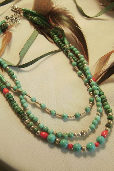 3 Strand Turquoise & Coral Necklace