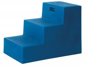 3 Step Horse Mounting Block BLUE with storage High Country Plastics
