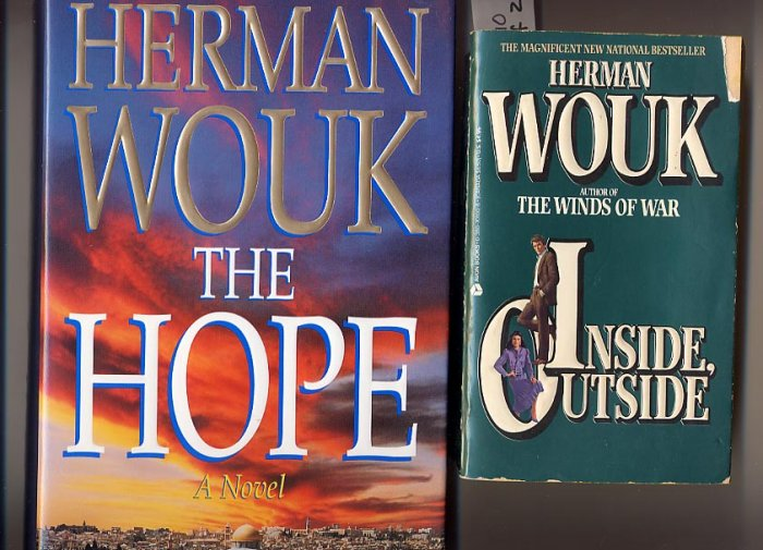 Lot of 2 Herman Wouk - Hope HC 1st/1st and Inside, Outside PB