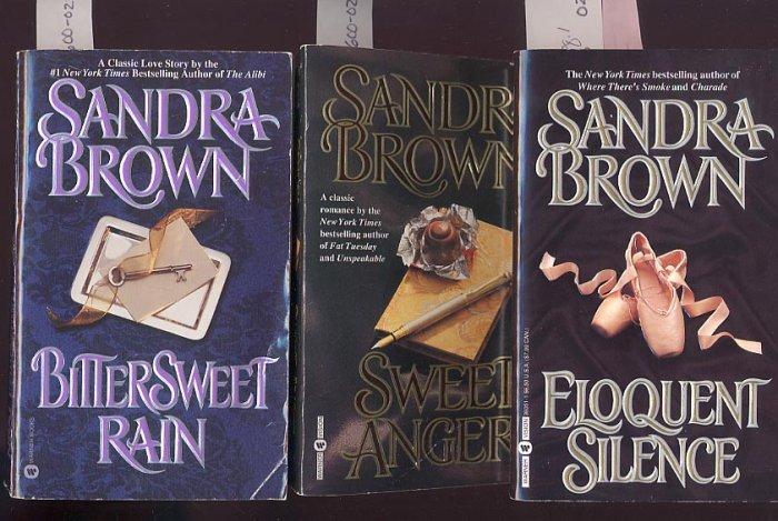 Lot of 3 Sandra Brown - Sweet Anger, Bittersweet Rain, Eloquent Silence PB