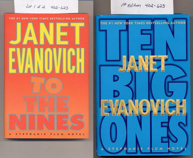 Lot of 2 Janet Evanovich - To The Nines, Ten Big Ones HC
