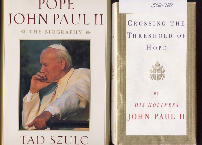 Lot of 2 Pope John Paul II - Threshold, Biography HC